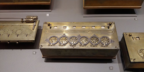 photo of Pascal's mechanical calculator from 1642